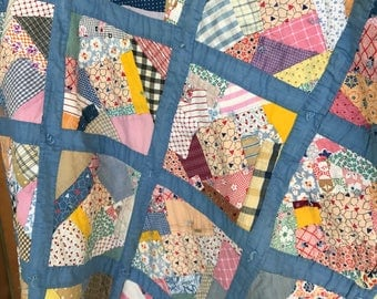 Rustic Patchwork Crazy Quilt Baby Child Blanket Handmade/1940s 50s/Farmhouse/32x40 inches/Boy or Girl/Nursery/Cotton Calico Gingham/Bedding