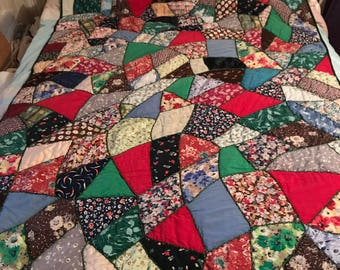 Antique Silk Crazy Quilt Hand Made/Hand Pieced Sewn & Embroidered/1920s/Twin Bed/Daybed/throw blanket/Dark Green Satin Back/ 48 x 75 inches
