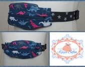 Pink and blue dinosaurs insulin pump belt with grey and white star elastic.  Size 2.