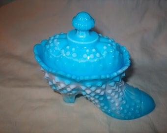 Vintage Fenton Glass, Blue Slag Shoe w/ lid, Hobnail, WAS 28.00 - 20% = 22.40