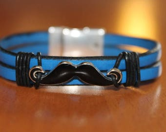 blue leather with a mustache magnetic bracelet