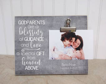 Gift For Godparents, Gift For Godmother, Godmother Photo Frame, Personalized Gift, Godparent Picture Frame, Baptism Gift, Custom Photo Frame
