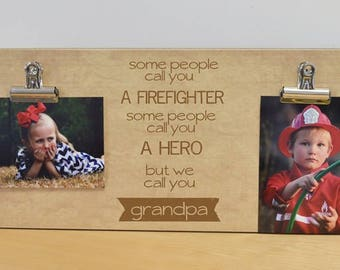 Wall Photo Frame Firefighter Gift, Father's Day Gift For Grandpa, Personalized Picture Frame, Grandpa Gift, Custom Photo Frame, Gift For Him