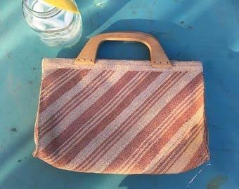 Straw Summer Striped Clutch