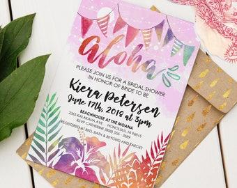 Aloha Bridal Shower Invitation   Custom Invitation   Editable Bridal Shower Invitation   Hawaiian Bridal Shower   Instant Download