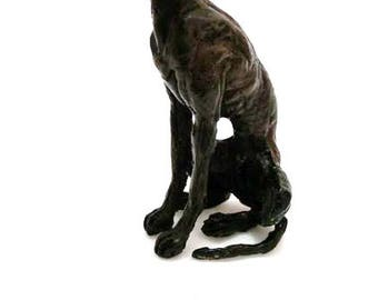 Hot cast solid bronze sculpture seated greyhound small dog by Muhmood Tahir