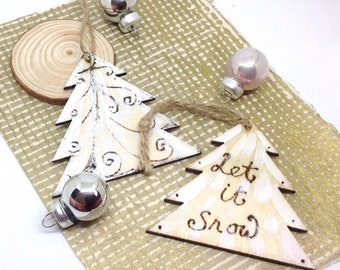 Christmas Tree Decorations, Set of 5 Wooden Ornaments, Let It Snow Quote, Pyrography Art, Rustic Christmas Decor, Typography Christmas Trees