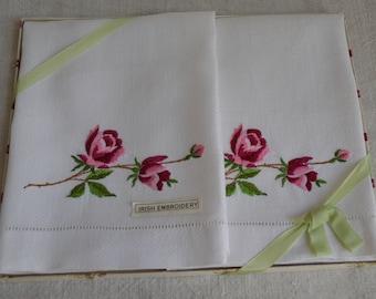Pair of Vintage Irish Linen Huckaback Embroidered Guest Towels - unused.