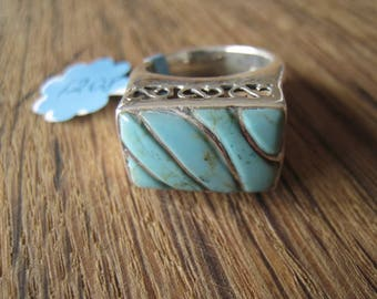Sterling Silver Blue Turquoise Scrolled Stripped Rectangle Ring Size 6.5 (1208)