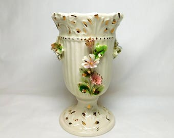 Vintage Italy Italian Cream Porcelain Vase Raised 3D Pink Blue Yellow Daisy Flowers Floral Motif Gold Accents Pedestal Foot Bottom Dainty