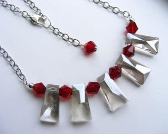 Red and Smoke Crystals and Silver Necklace