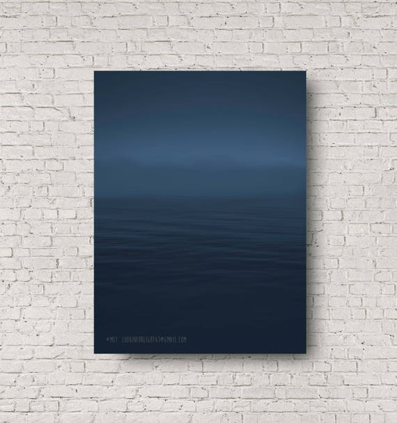 Minimalist Ocean Photo | Abstract Pacific Ocean Art | Dark Blue Ocean Print | Dark Ocean Print | California Modern Art | Blue Sky Ocean Art
