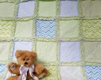 Blue and green rag quilt lovey / security blanket with minky back, for baby boy