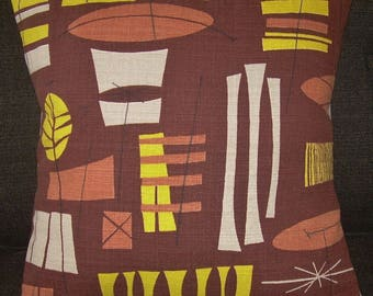 "Mid Century Atomic Pillow Cover ""Tiki"" 1950's Barkcloth Mad Men Sputnik Retro Pillow"