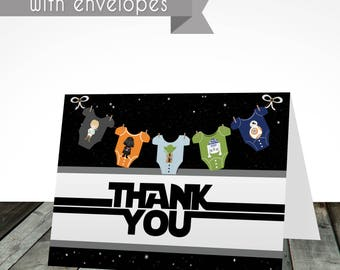 Starwars thank you cards PRINTED and shipped, starwars baby shower thank you cards, digital or printed, shipped with envelopes, baby shower