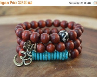 Sale 3-Bracelet Set, Wood Bead Bracelet, Bohemian Jewelry, Boho Bracelet, Charm Bracelet, Brown Bracelet, Bone Bracelet, Stacking Bracelet