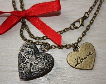 Heart Necklace photo and satin bow