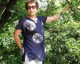 Womens summer blouse top Hand dyed tunic silk cotton Blue white Tie Dye Shibori Hand sewn Resort wear L-XL