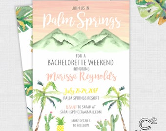 Palm Springs Bachelorette Party Invitation