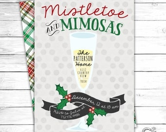 Mistletoe & Mimosas Christmas Brunch Invitation