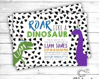 Roar Like A Dinosaur Birthday Invitation