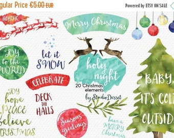 SUMMER SALE - 55% OFF Christmas Cliparts, Watercolor Christmas Clip Art, Christmas Tree, Santa Claus, Watercolor Overlays, Deer Graphics Per
