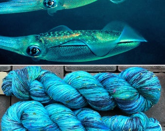 Bigfin Reef Squid Multicolour Donegal Sock, speckled merino yarn with rainbow neps