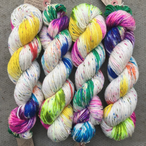 Industrial Accident DK, rainbow speckled yarn with multicolour Donegal neps