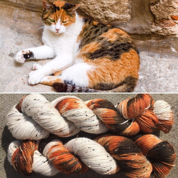 Calico Cat Donegal Sock, 4ply fingering superwash merino sock yarn with neps