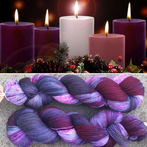 Advent, purple merino nylon sock yarn