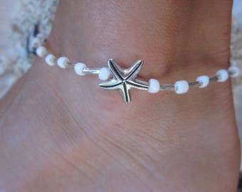 bohemian beaded anklet glass beads silver starfish white seed bead beaded ankle bracelet stretch anklet stackable yoga anklet ankle bracelet