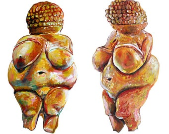 High Quality Print - Venus von Willendorf Acrylic Painting - Archeology - History of Art - Anthropology - Female Form Nude - Natural History