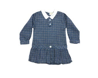 Vintage deadstock baby girls long sleeved check mod dress 12-18 months 1960s 60s