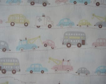 "Half Yard of D's Selection Pastel Cars Vehicles Trucks by Daiwabo Fabric on Off White Background. Approx.18"" x 44"" Made in Japan"