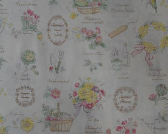 "Half Yard of Yuwa Fourson Collection Flowers, Fruits, Gardening and Vegetables on Cream Background. Approx. 18"" x 42"" Made in Japan."