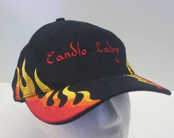 "HOTEST HAT on ETSY ""Candle lady"" flame hat cap 90s"