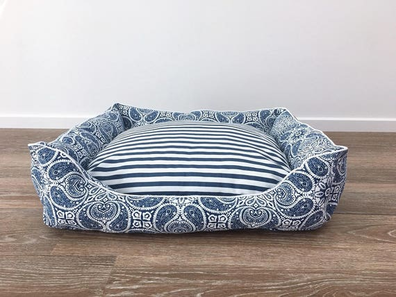 SMALL Lounger style Dog Bed   - 'Navy Hampton' design with navy and white stripe reversable insert
