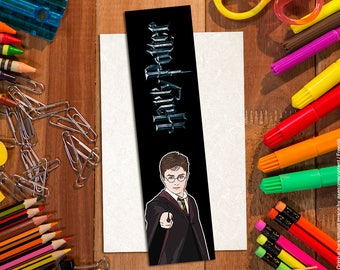 Harry Potter bookmark. Paper bookmark. Illustrated bookmark. Cartoon bookmark. Daniel Radcliffe. Harry Potter items. Harry Potter fans.