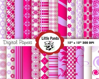 70% OFF SALE Bright Pink and Mauve Digital Paper Pack, Scrapbook Papers, 24 jpg files 12 x 12  - Instant Download - D36