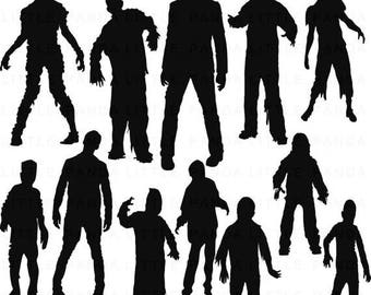 60% OFF SALE Zombie Silhouettes Digital Clip Art - Personal and Commercial Use - Instant Download - D375