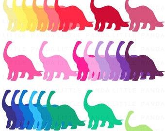 60% OFF SALE Rainbow Dinosaur Clip Art - Instant Download - C103
