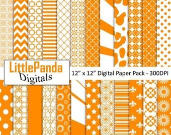 60% OFF SALE Orange Digital Paper, Scrapbook Papers, Background, 24 jpg files 12 x 12 - Instant Download - D437