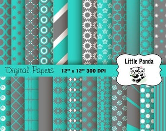60% OFF SALE Gray and Turquoise Digital Paper Pack, Scrapbook Papers, 24 jpg files 12 x 12  - Instant Download - D213