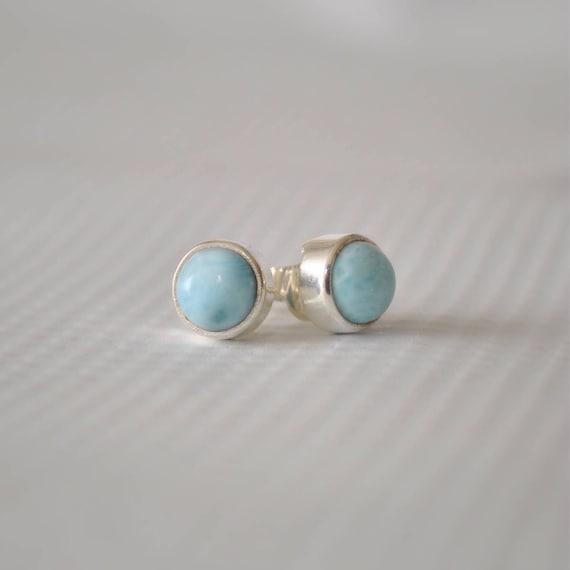 Sterling Silver Larimar Round Stud Earrings #9031