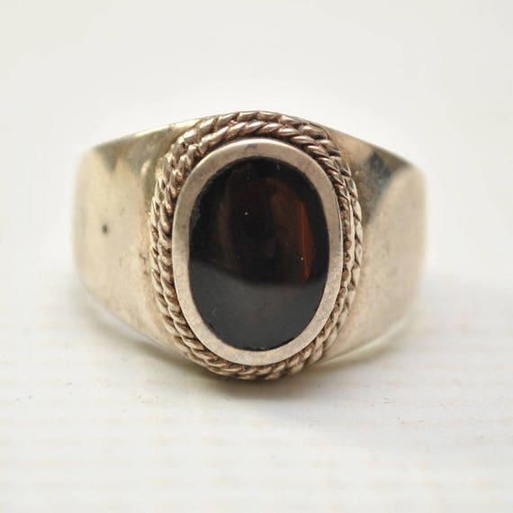 Onyx Small Oval with Braid in Plain Sterling Silver Ring Sz 11 #8150