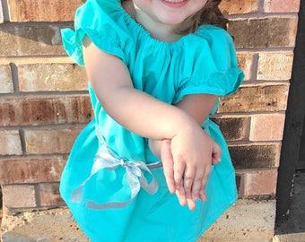 Peasant Dress-Aqua Dress-Aqua Peasant Dress-Toddler Dress-Dress-Girl's Dress