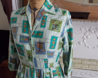 1950s Original Green Cotton Dress, Fits Size 12, 3/4 Sleeves, Green, Teal and Purple, Vintage Telephone Print
