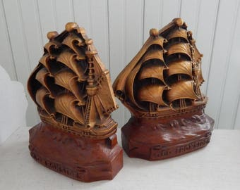 """Tall Ship """"Old Ironside"""" Heavy Resin Bookends - Collectible Tall Ship Bookends - Mid Century Home Decor - Shore Home, Office, Man Cave Decor"""