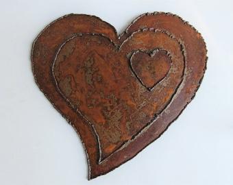 Weathered Heart of Steel - Metal Wall Sculpture - Valentine's Gift - Heart Sculpture - Metal Sculpture - Rusty Heart