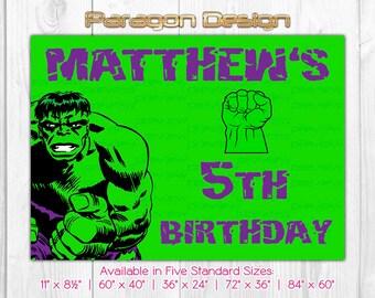 Hulk Themed Custom Backdrop / Banner / Poster - Personalized DIY Printable Digital PDF File